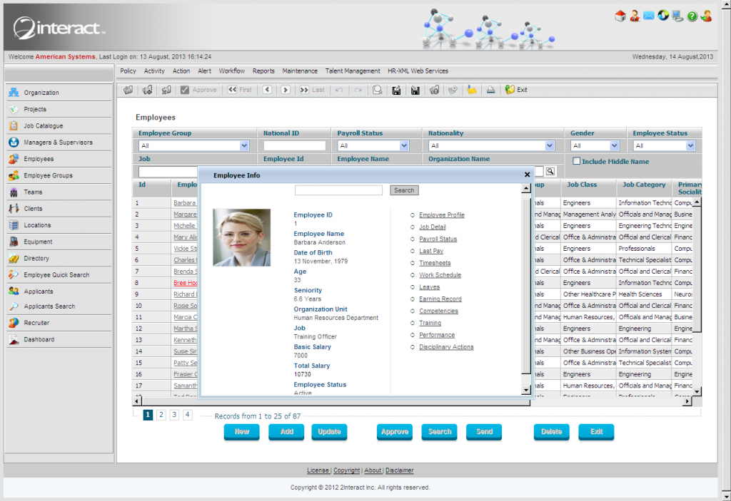 Employee Electronic Record Quick View